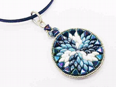 Swirl Pendant Jewellery Kit with  Kheops Par Puca and SuperDuos - Blue and Ivory with Gunmetal
